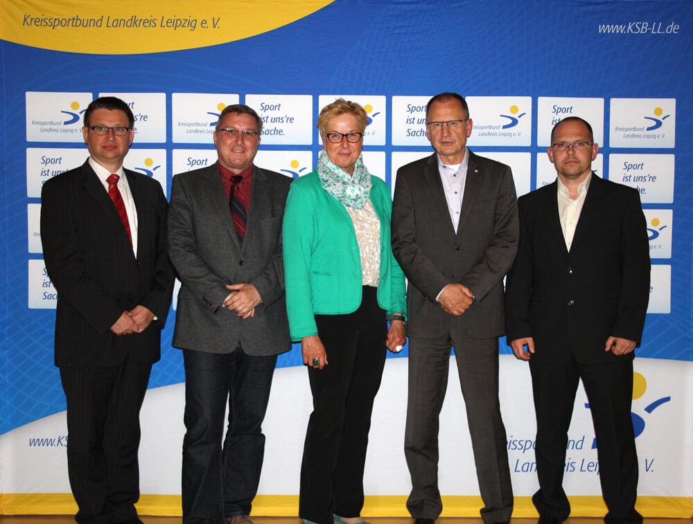 Kreissportbund Landkreis Leipzig Vorstandv.l.n.r. Andreas Woda, Raymund Töpfer, Barbara Lehmann, Wolfgang Klinger, Michael Schramm